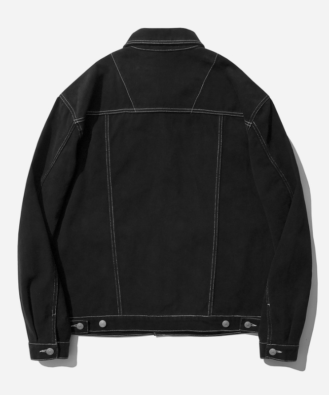 SP Cotton Twill Trucker Jacket-Black