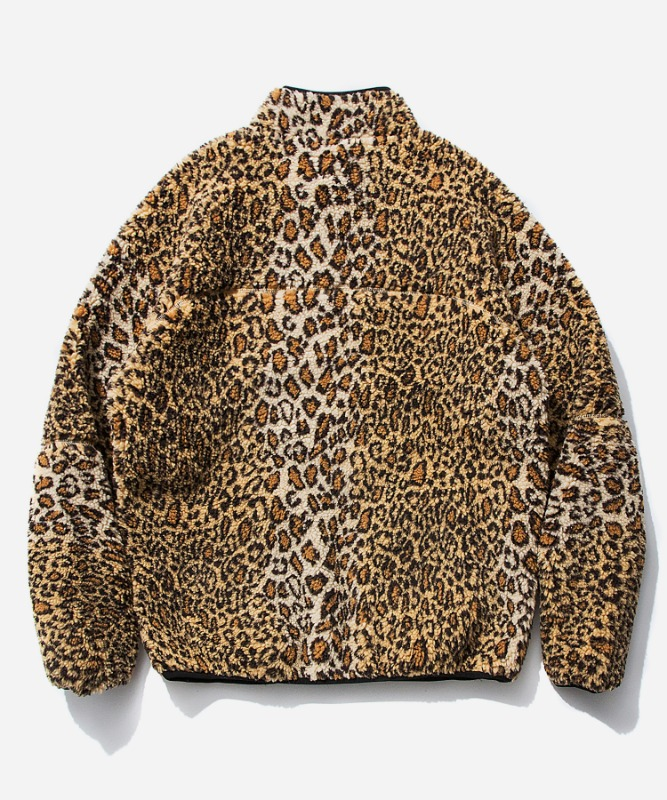 SP Leopard Boa Fleece Zip Up Jacket-Yellow