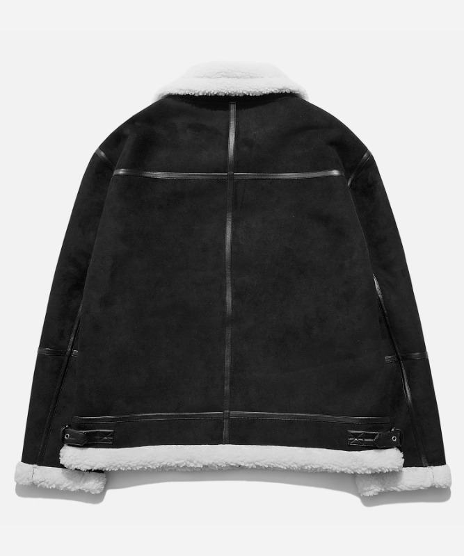 SP Suede Shearling Jacket-Black