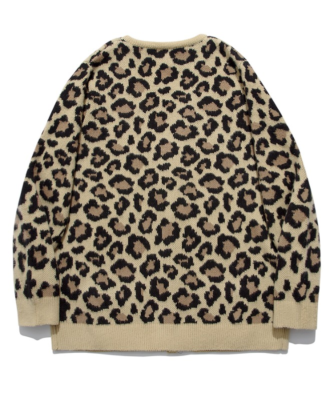 SP Semi Over Leopard Cardigan-Beige
