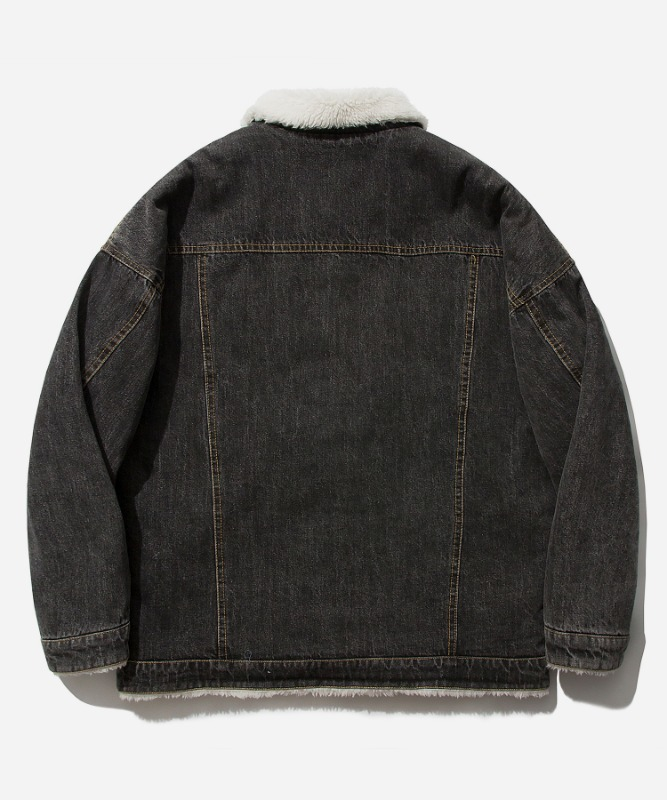 SP Boa Denim Trucker Jacket-Black