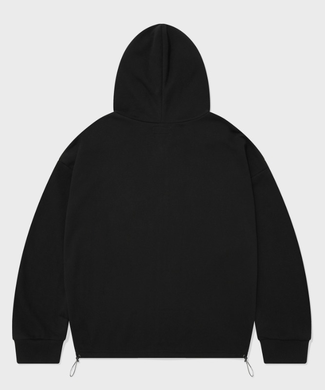 SP CROP HOOD ZIP UP-BLACK