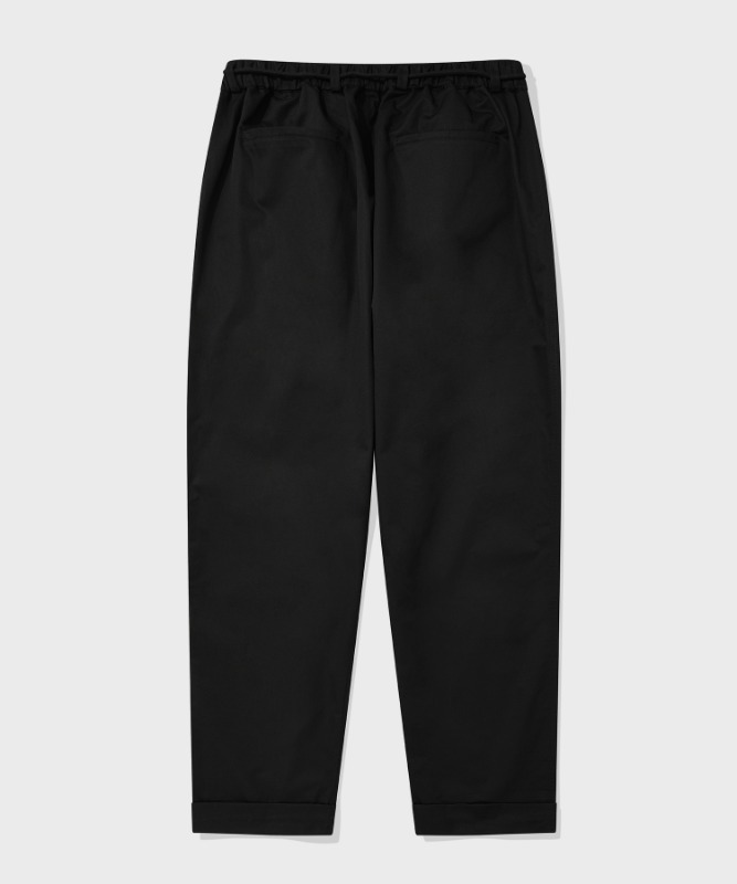 SP TWO TUCK BELT PANTS-BLACK