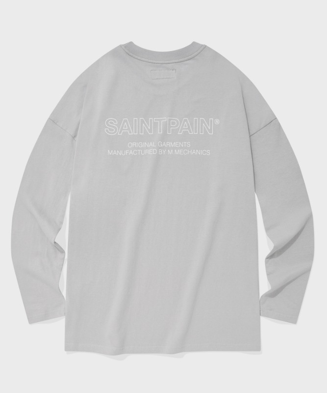SP OVER FIT OUT LINE LOGO LONG SLEEVE-GRAY
