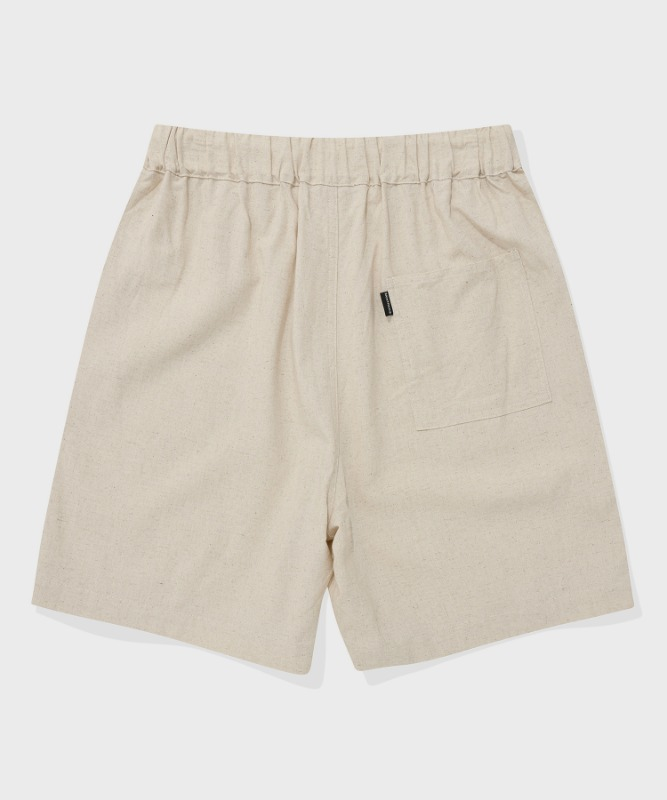 SP BASIC LINEN SHORT PANTS-BEIGE