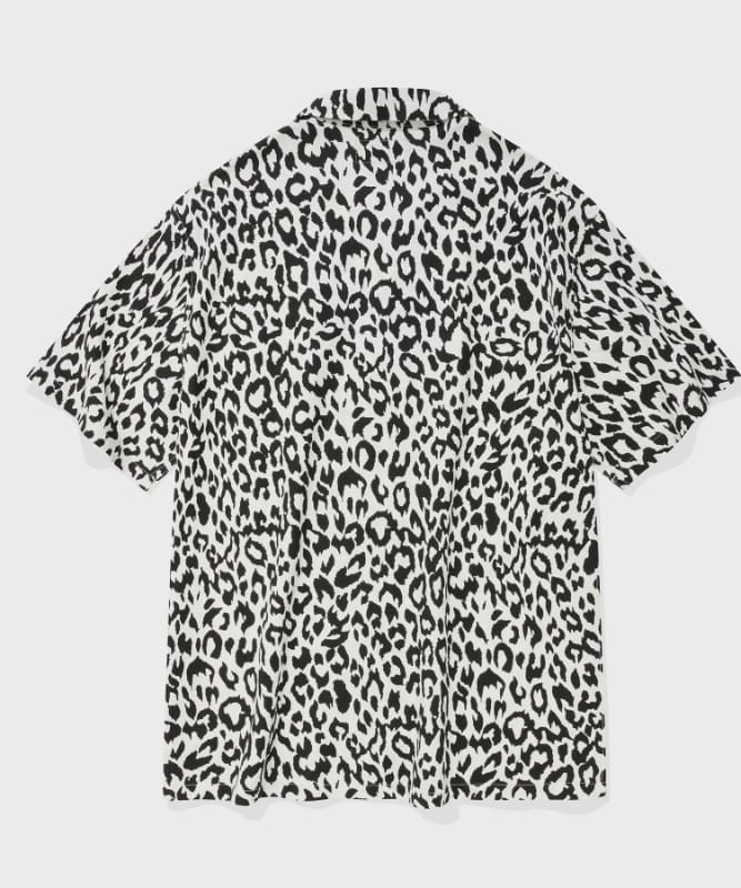 SP LOOSE FIT LEOPARD LINEN SHIRTS-WHITE