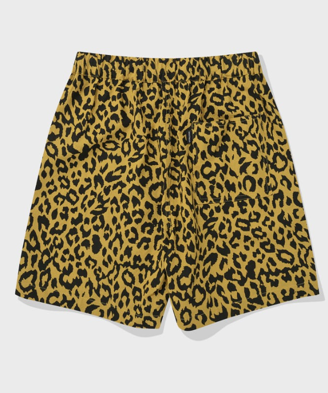 SP LEOPARD LINEN SHORT PANTS-YELLOW