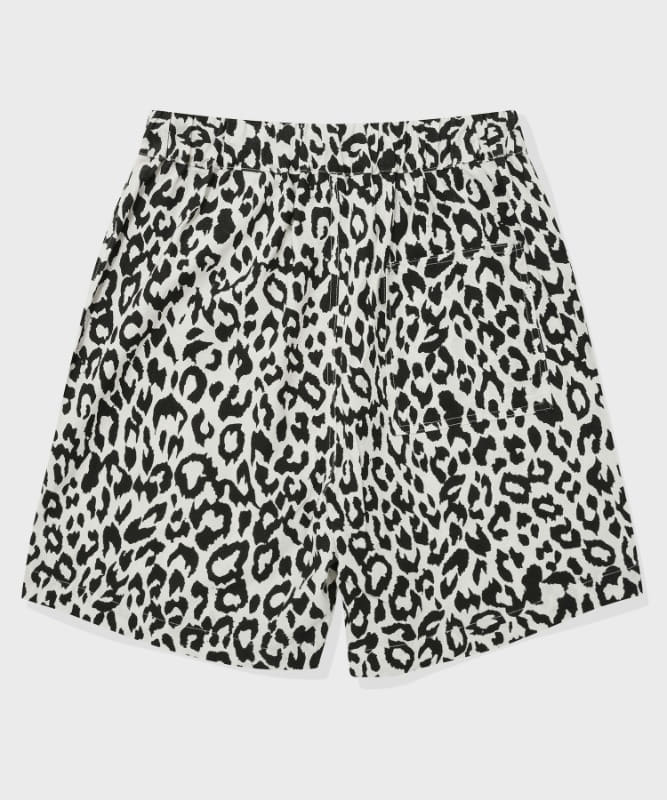 SP LEOPARD LINEN SHORT PANTS-WHITE