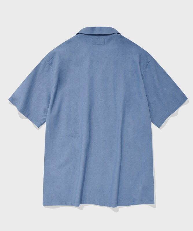 SP LOOSE FIT LINEN SHIRTS-BLUE