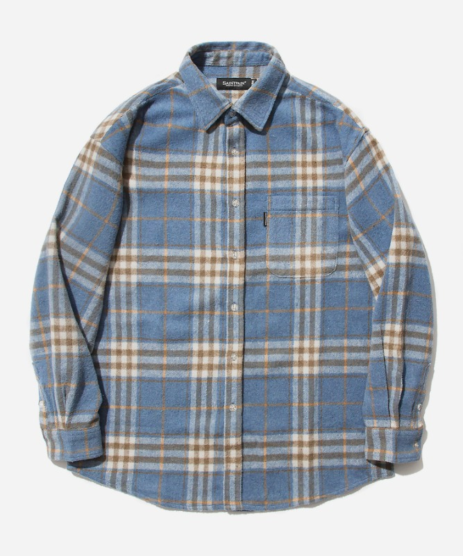 SP Loose Fit Wide Check Shirts-Blue