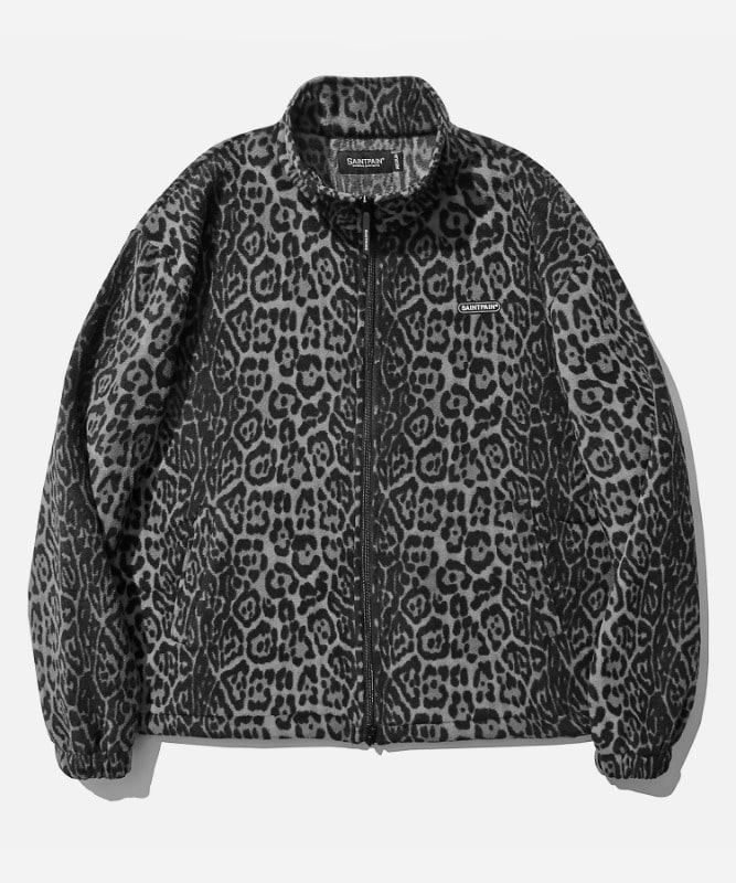 SP Leopard Fleece Zip Up Jacket-Gray