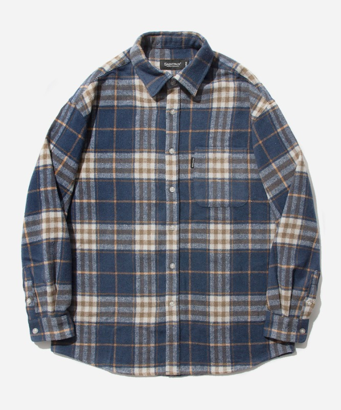 SP Loose Fit Wide Check Shirts-Navy