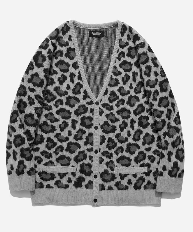 SP Semi Over Leopard Cardigan-Gray