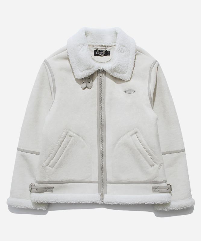 SP Suede Shearling Jacket-Ivory