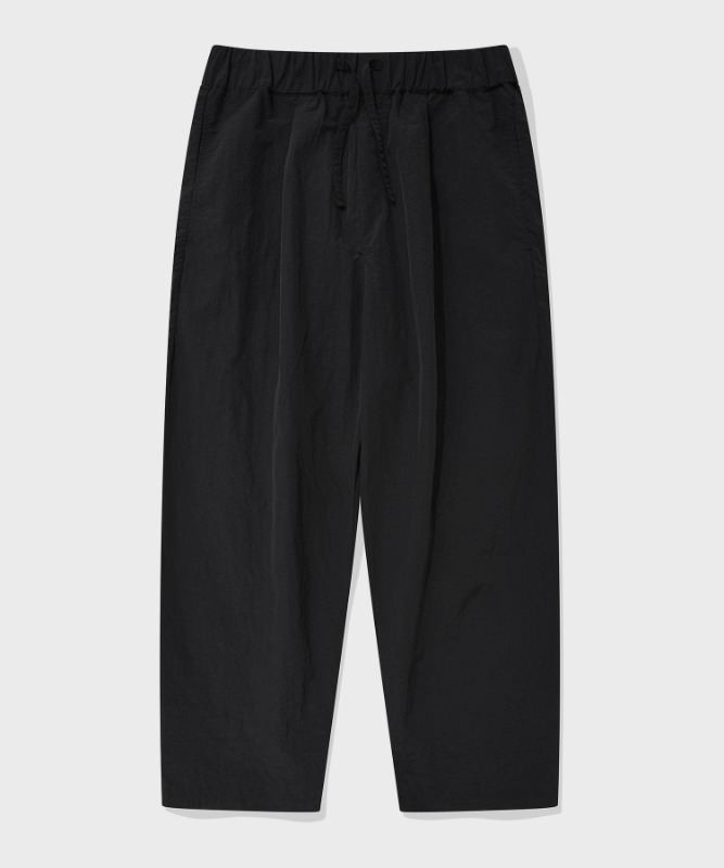 SP WIDE NYLON PANTS-BLACK