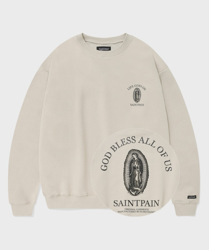 SP GOD BLESS ALL CREWNECK-BEIGE