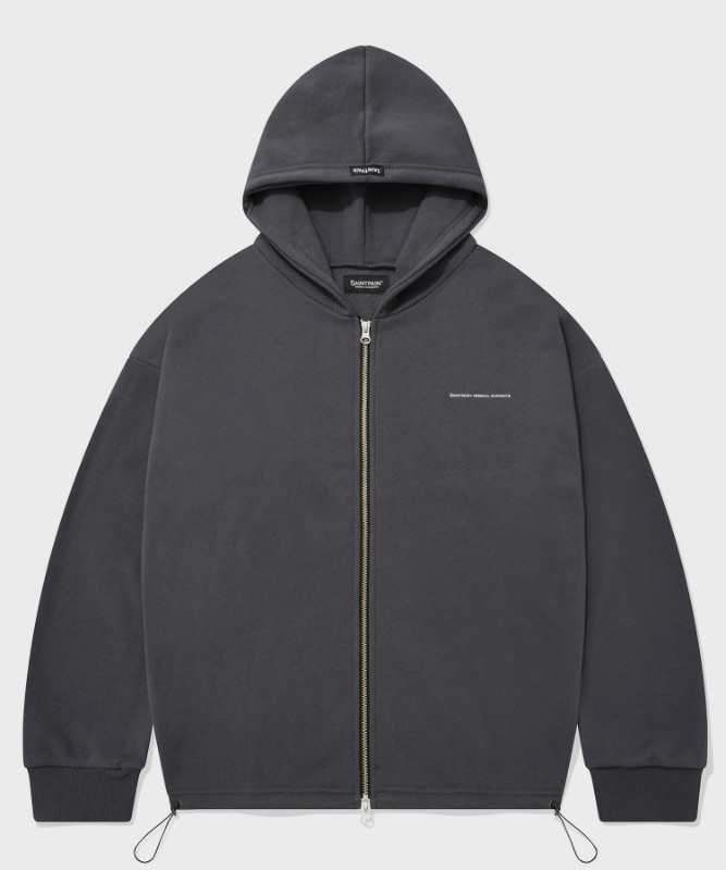 SP CROP HOOD ZIP UP-CHARCOAL