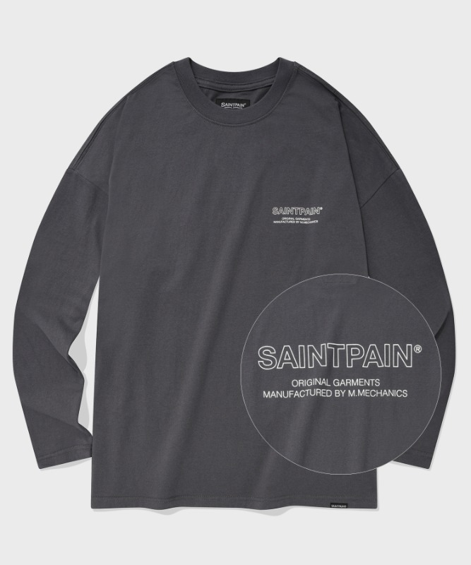 SP OVER FIT OUT LINE LOGO LONG SLEEVE-CHARCOAL