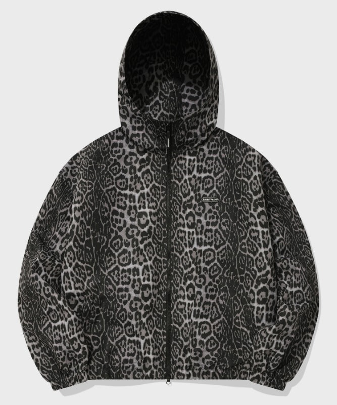 SP HOOD WIND PARKA-GRAY LEOPARD
