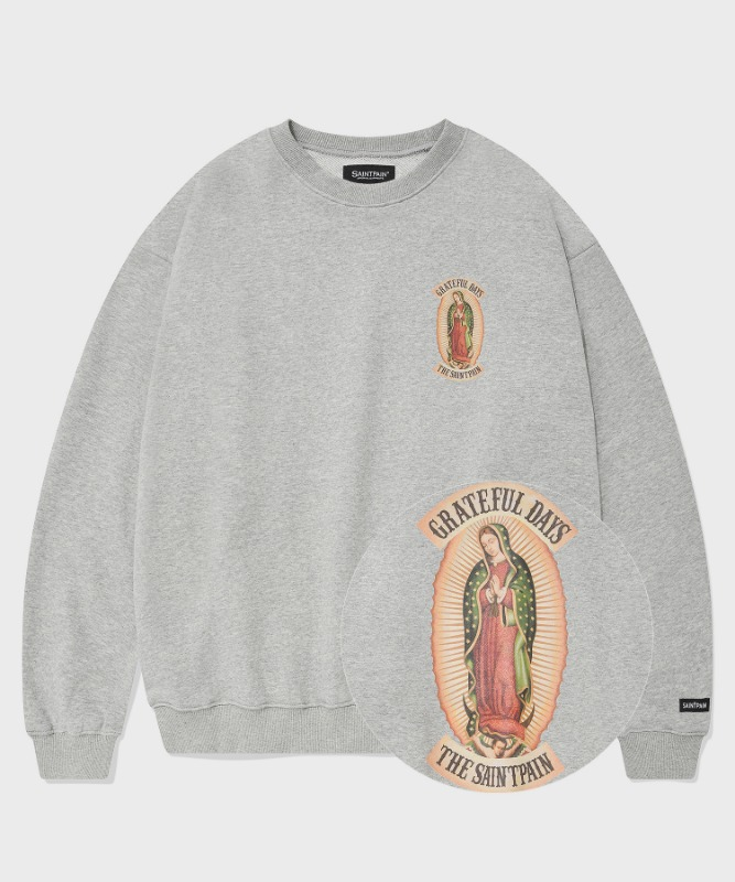 SP OUR LADY OF GUADALUPE CREW NECK-MELANGE GRAY