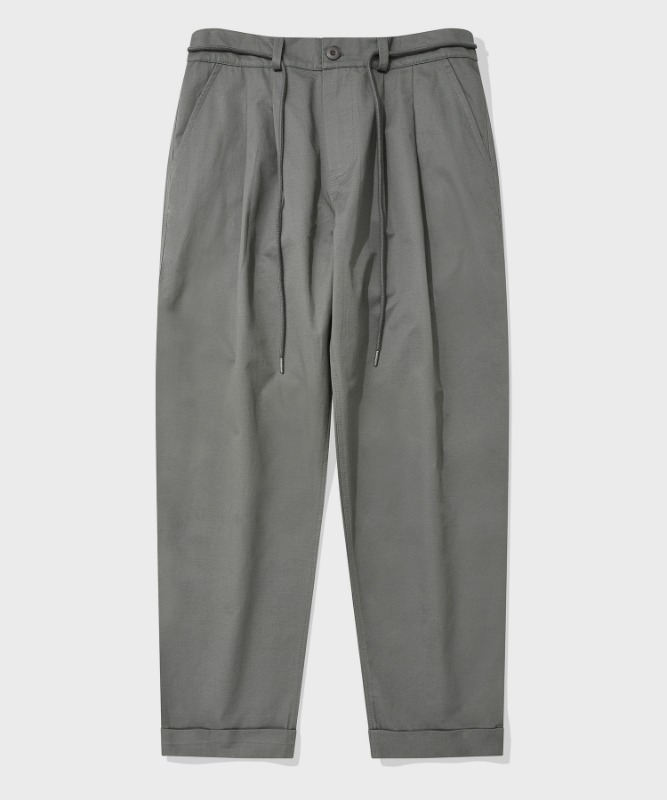 SP TWO TUCK BELT PANTS-KHAKI