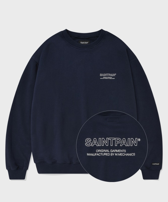 SP OUT LINE LOGO CREWNECK-NAVY