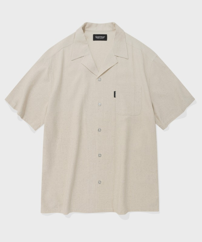 SP LOOSE FIT LINEN SHIRTS-BEIGE