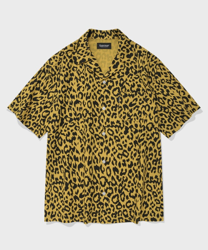 SP LOOSE FIT LEOPARD LINEN SHIRTS-YELLOW