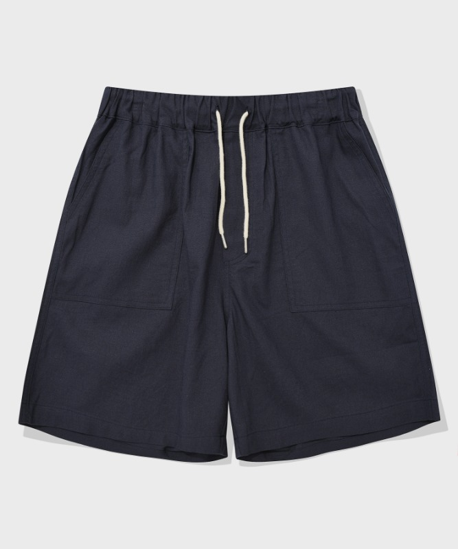 SP BASIC LINEN SHORT PANTS-NAVY