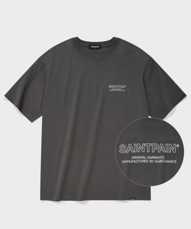 SP OUT LINE LOGO T-CHARCOAL